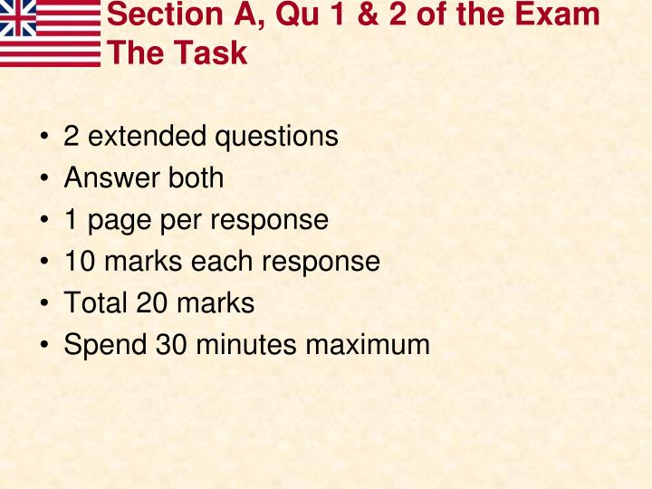 Section a qu 1 2 of the exam the task