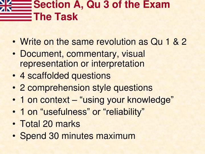 Section A, Qu 3 of the Exam