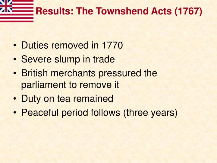 Results: The Townshend Acts (1767)