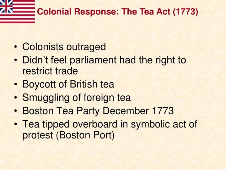 Colonial Response: The Tea Act (1773)