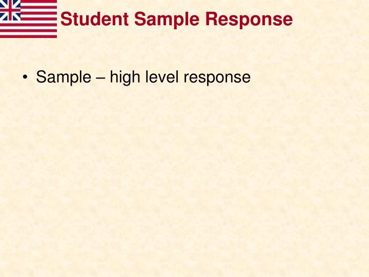 Student Sample Response