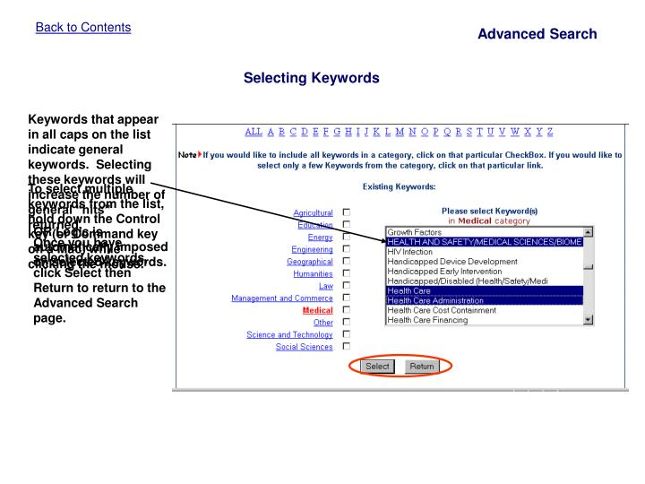 Keywords that appear