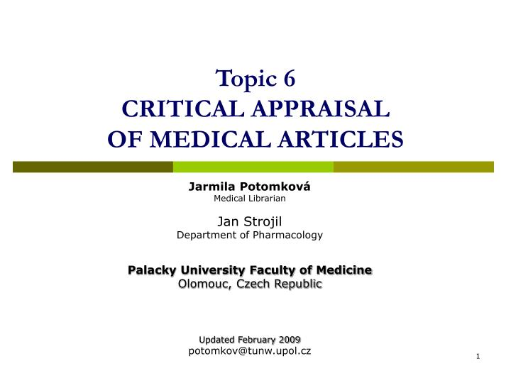 ppt topic 6 critical appraisal of medical articles powerpoint