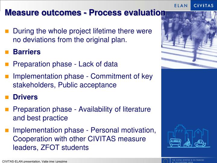 Measure outcomes - Process evaluation
