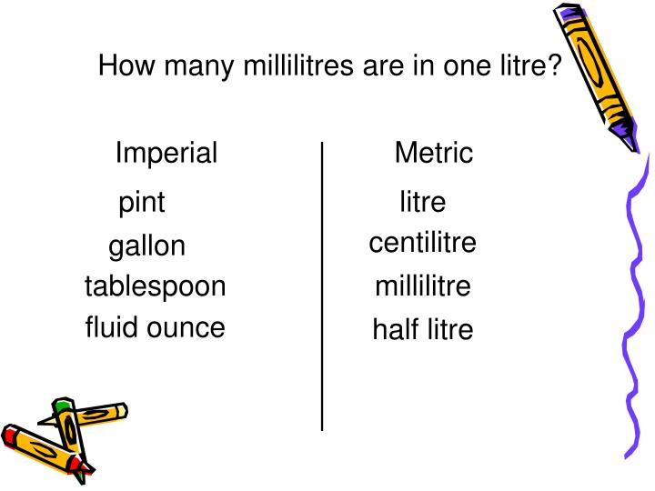 How many millilitres are in one litre?
