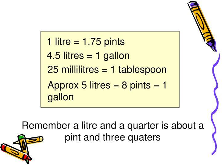 1 litre = 1.75 pints