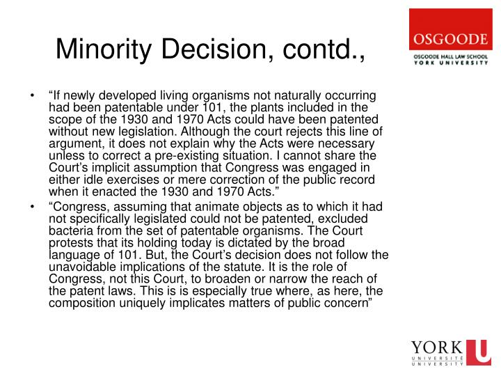 Minority Decision, contd.,