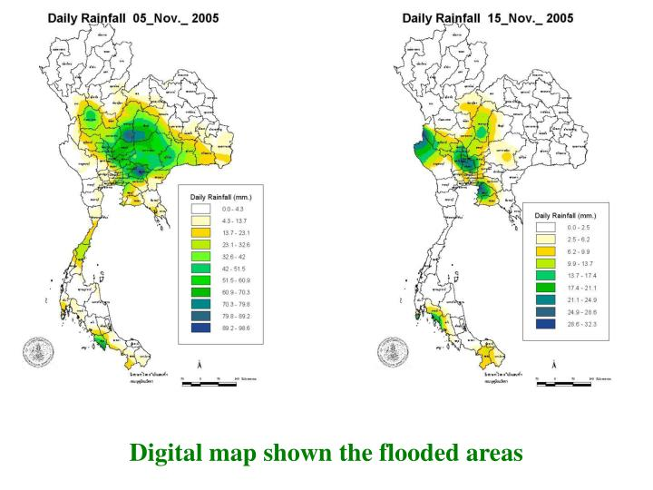 Digital map shown the flooded areas