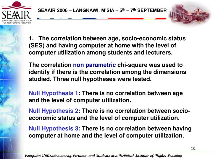 the hypothesis is relationships between socioeconomic