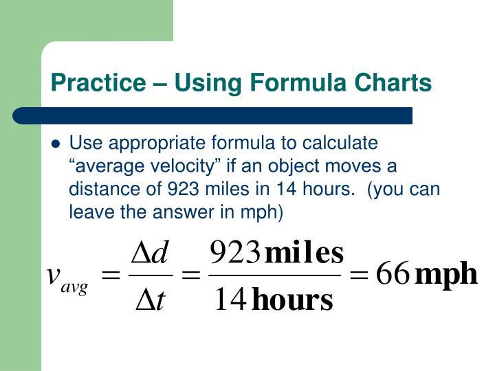 Practice – Using Formula Charts