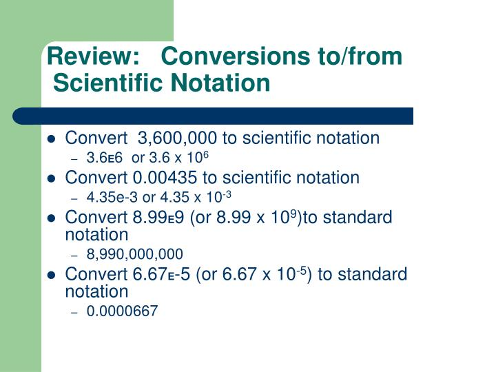 Review:   Conversions to/from