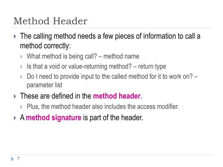 Method Header