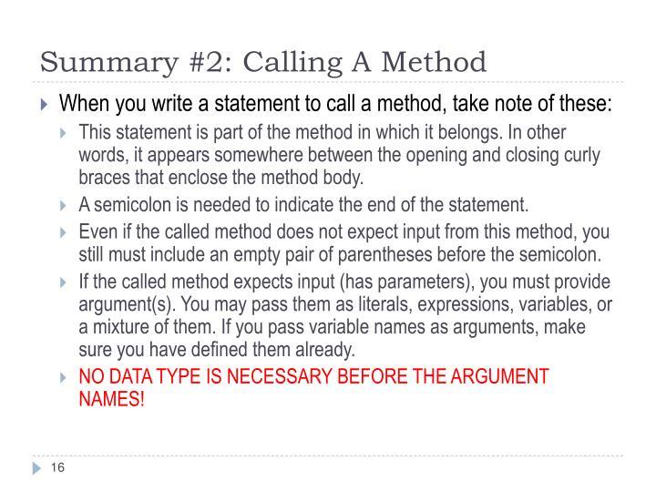 Summary #2: Calling A Method