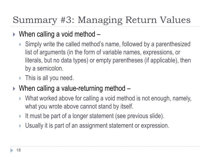 Summary #3: Managing Return Values