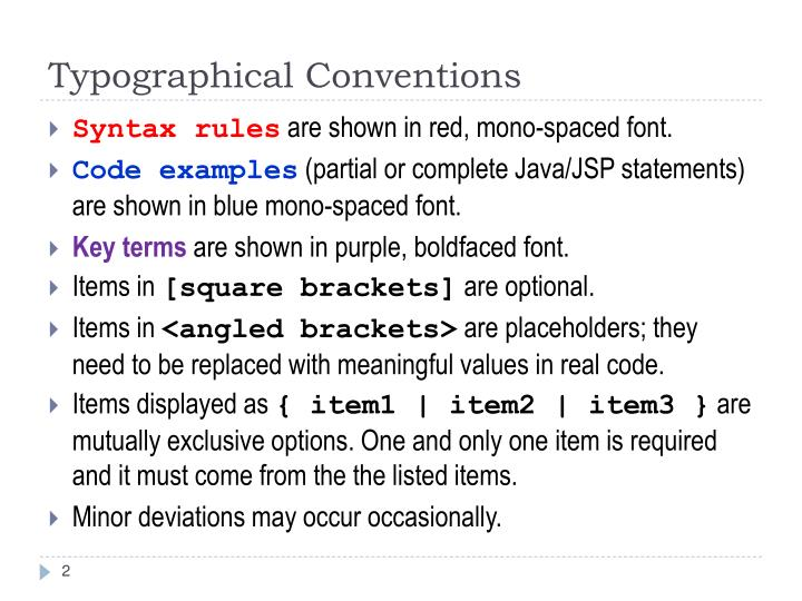 Typographical conventions