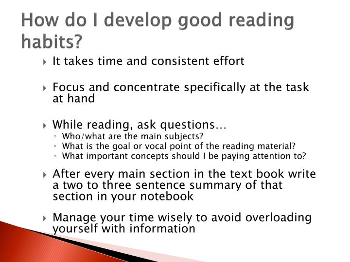 How do I develop good reading habits?