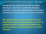 centripetal acceleration recap