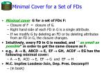 minimal cover for a set of fds
