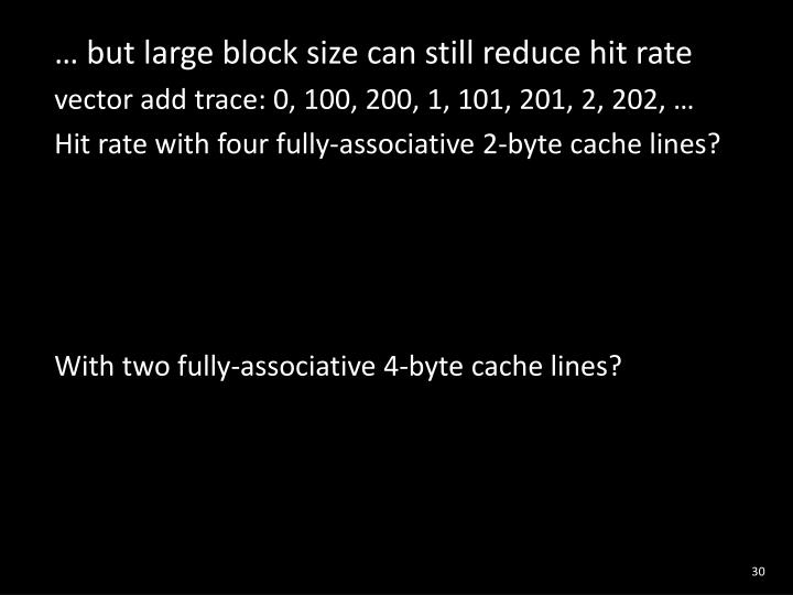 … but large block size can still reduce hit rate