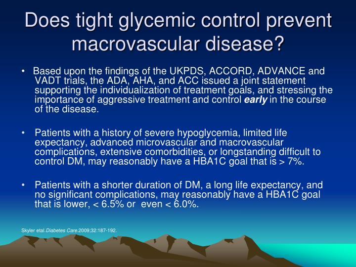 Does tight glycemic control prevent macrovascular disease?