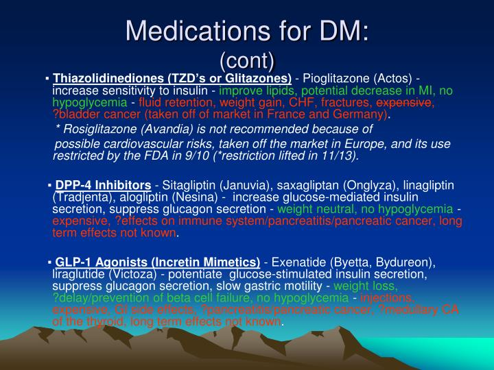 Medications for DM: