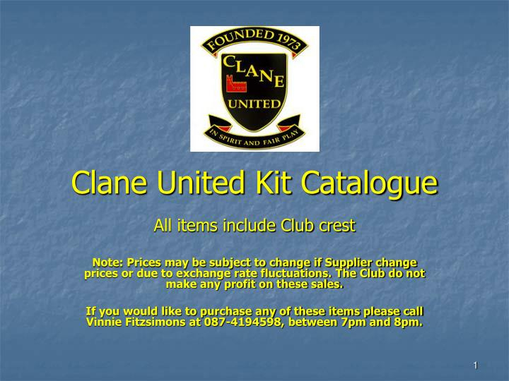 Clane united kit catalogue