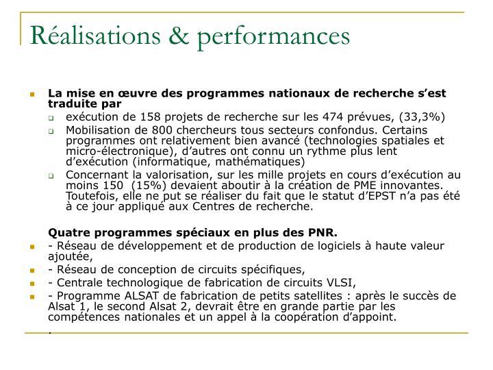 Réalisations & performances