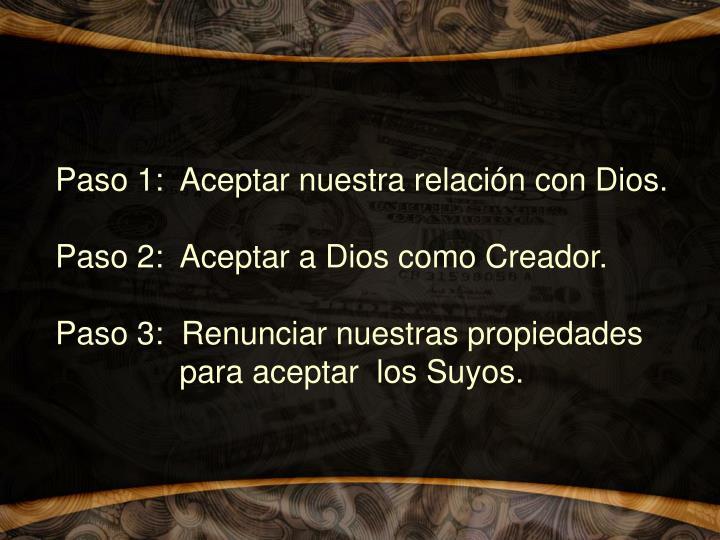 Paso 1:  Aceptar nuestra relación con Dios.