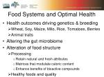 food systems and optimal health