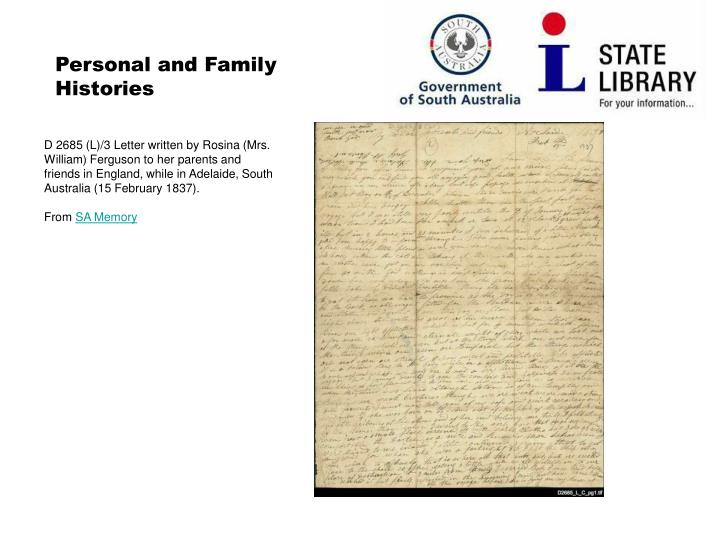 Personal and Family Histories