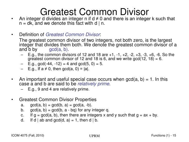 Greatest Common Divisor