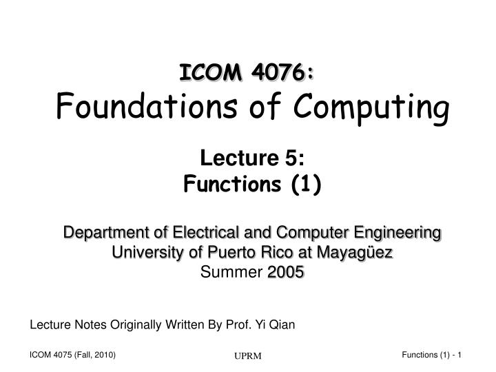 Lecture 5 functions 1