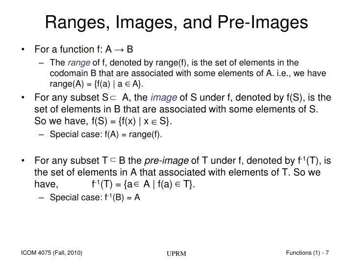Ranges, Images, and Pre-Images