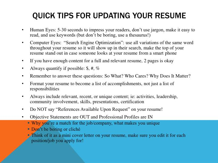 Quick tips for updating your resume