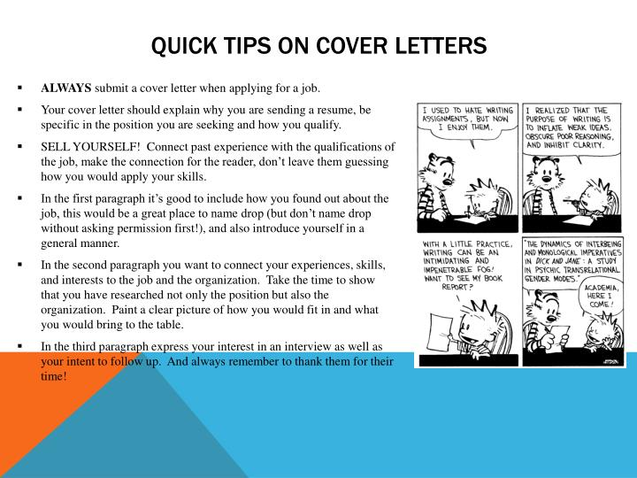 Quick tips on cover letters