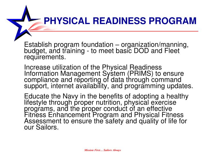 PHYSICAL READINESS PROGRAM