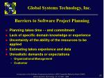 barriers to software project planning