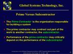 prime versus subcontractor