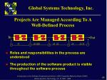 projects are managed according to a well defined process