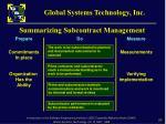 summarizing subcontract management