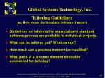 tailoring guidelines or how to use the standard software process