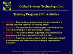 training program tp activities