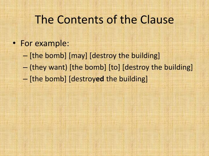 The Contents of the Clause