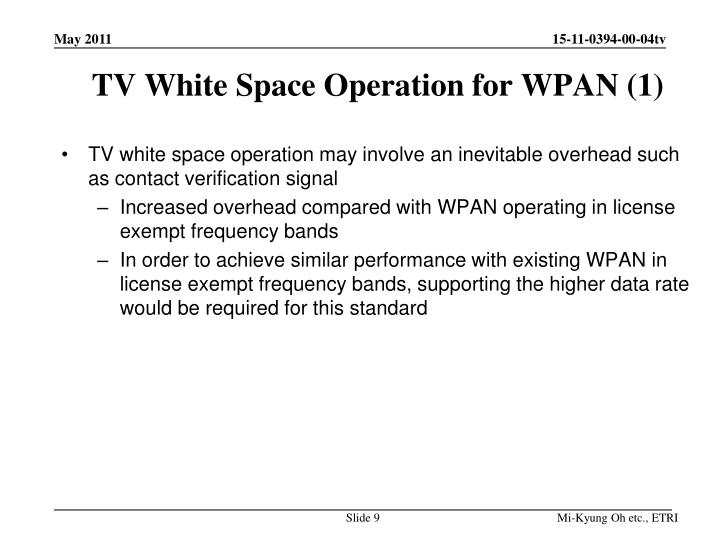 TV White Space Operation for WPAN (1)