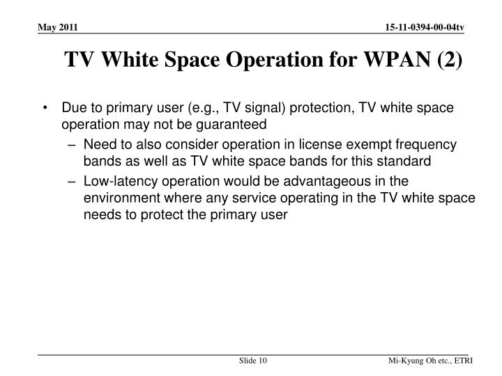 TV White Space Operation for WPAN (2)