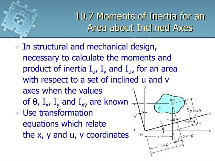 10 7 moments of inertia for an area about inclined axes n.