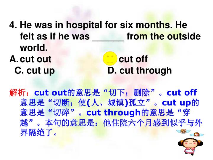 4. He was in hospital for six months. He felt as if he was ______ from the outside world.