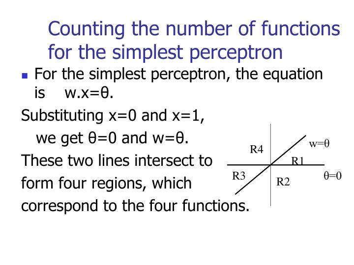 Counting the number of functions for the simplest perceptron