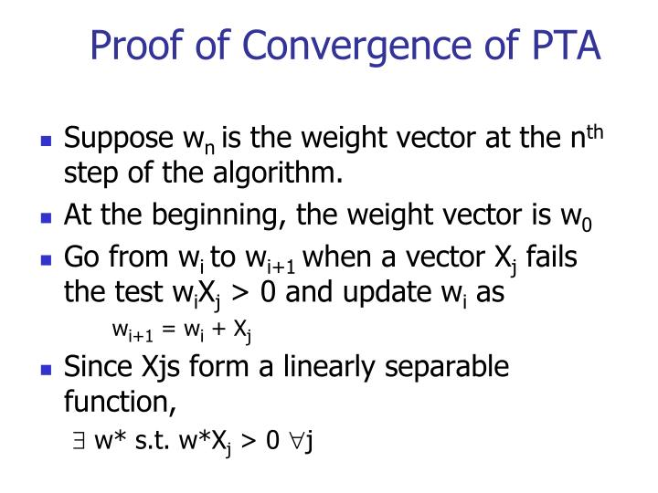 Proof of Convergence of PTA