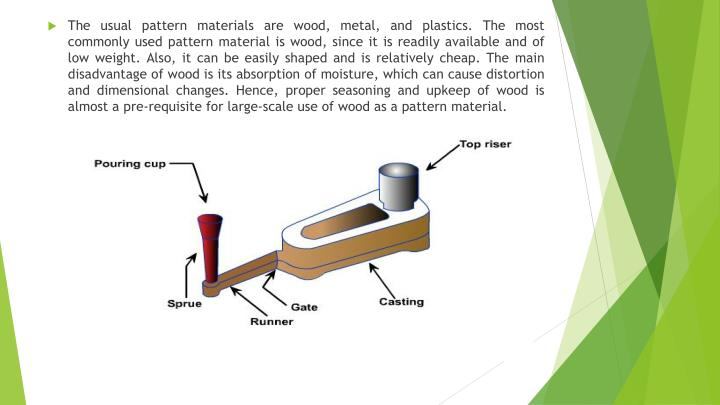The usual pattern materials are wood, metal, and plastics. The most commonly used pattern material is wood, since it is readily available and of low weight. Also, it can be easily shaped and is relatively cheap. The main disadvantage of wood is its absorption of moisture, which can cause distortion and dimensional changes. Hence, proper seasoning and upkeep of wood is almost a pre-requisite for large-scale use of wood as a pattern material.